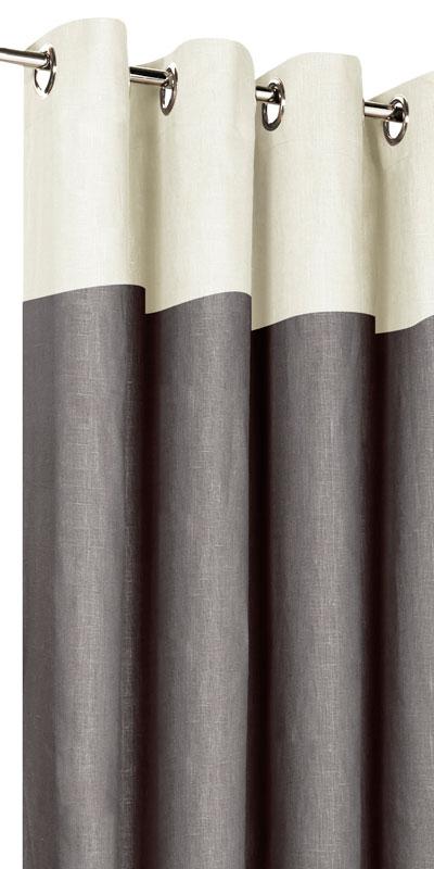 rideaux en lin bicolores t te ecrue. Black Bedroom Furniture Sets. Home Design Ideas