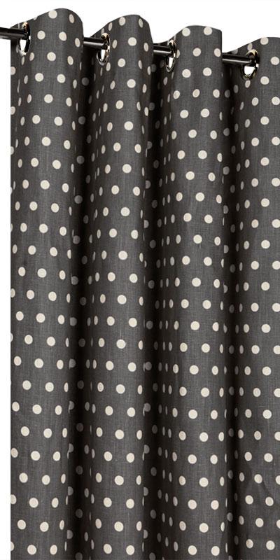 Rideaux en lin motifs sur mesure for Rideaux gris et blanc en lin